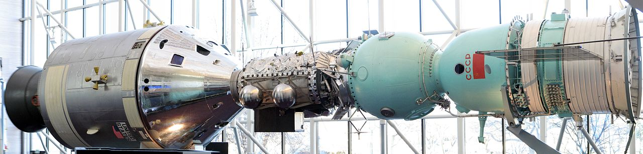 Above, the Apollo-Soyuz display in the National Air and Space Museum,  an representation of the two capsules that participated in the fires joint American-Russian space mission